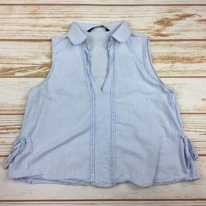 Zara Blue Collared Sleeveless V-Neck Blouse